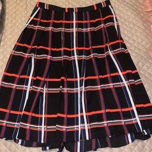 Vince Camuto Midi Plaid Pleated Skirt